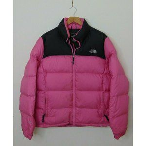North Face Xl Goose Down Puffer Jacket Pink Black